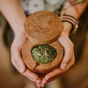 Drewniane pudełko na obrączki Rustykalne Boho