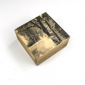 Drewniane pudełko - zimowa droga