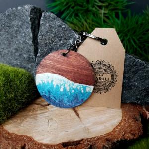 """Drewniany breloczek do kluczy """"Ocean Blue"""" - duży"""