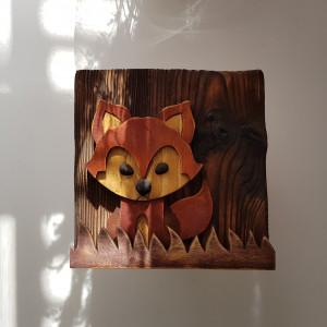 Drewniany obrazek 3D - lisek