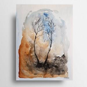 Drzewa-akwarela formatu 24/32