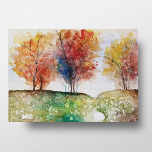 Drzewa -akwarela formatu A5