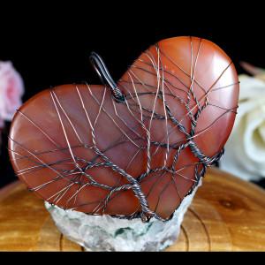 Drzewko Szczęścia Miedziany wisior z agatem orange