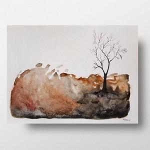 Drzewo-akwarela formatu 32/24 cm