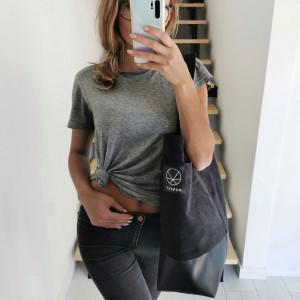 Duża czarna torba shopper eko zamsz