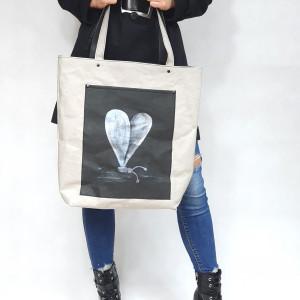 Duża, malowana ręcznie, vegańska torba na ramię