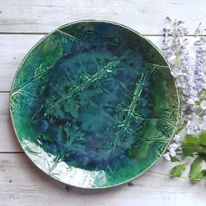 Duża patera ceramiczna z motywem roślin