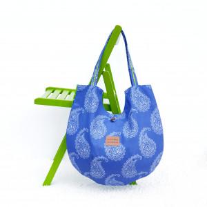Duża torba bawełniana okrągła niebieska