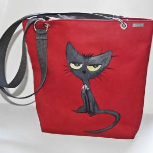 Duża torba ręcznie malowana z kotem