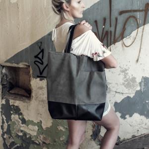 Duża torba shopper grafit eko zamsz
