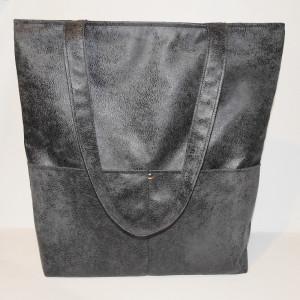 Duża torba shopperka szaro-czarna
