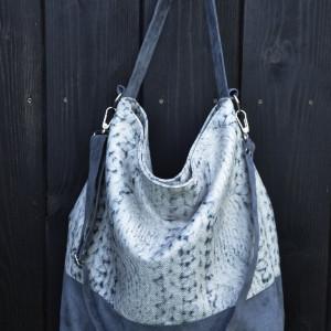 Duża torba worek - print sweterkowa