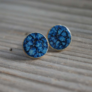 Duże niebieskie ceramiczne kolczyki