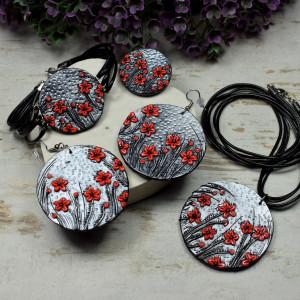 """Duży komplet biżuterii """"czerwone kwiaty"""""""