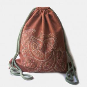 Duży plecak rudy worek z kolorowym haftem