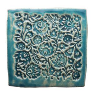 Dwa ceramiczne podstawki pod kubek turkus ludowe