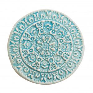 Dwa ceramiczne podstawki pod kubek turkus ludowe 2