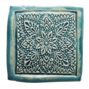 Dwa ceramiczne podstawki pod kubek turkus orient 4