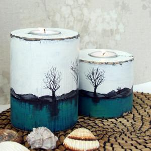 Dwa świeczniki z sosnowej belki, biało-turkusowe