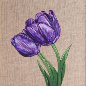 Dwa tulipany malowane farbami akrylowymi