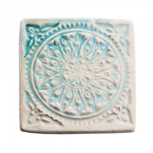Dwie ceramiczne podstawki pod kubek błękit