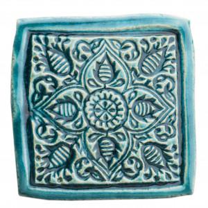 Dwie ceramiczne podstawki pod kubek turkus