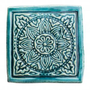 Dwie ceramiczne podstawki pod kubek turkus 3