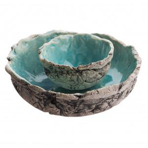 Dwie miski ceramiczne turkusowe