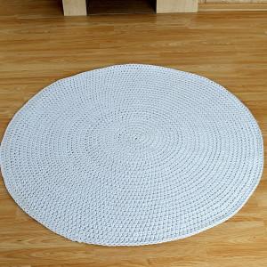 Dywan jasnoszary, okrągły, ze sznurka bawełnianego