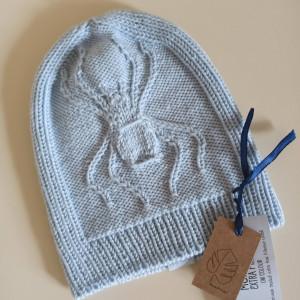 Dziecięca czapka z pająkiem-merino, stalowy błękit