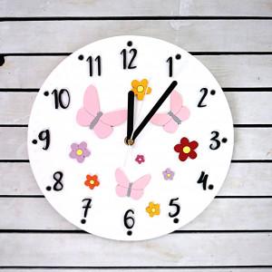 Dziecięcy zegar kwiaty i motyle