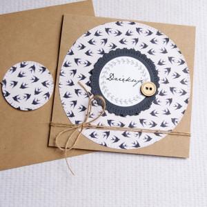 dziękuję - kartka handmade - jaskółki