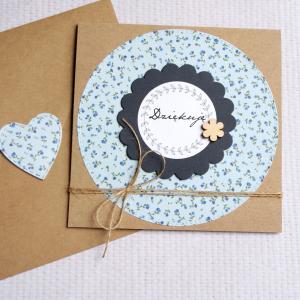 dziękuję - kartka handmade - kwiatuszki