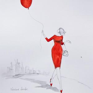 """""""Dziś prowadzi mnie czerwony balonik"""" akwarela"""