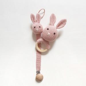 Eco zestaw dla niemowlaka - różowe króliki