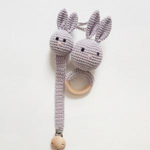 Eco zestaw dla niemowlaka - szary królik