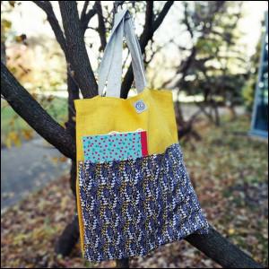Eko torba z kieszeniami - żółta juta
