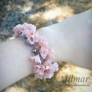 Elegancka bransoletka ŚLUB  EFEKT Fimo róż