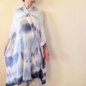 Elegancki szal wełniany krem&atrament