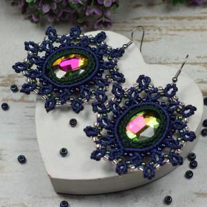 eleganckie, ążurowe kolczyki z kryształami