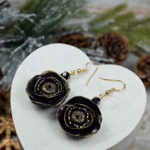 Eleganckie, czarne kolczyki kwiaty