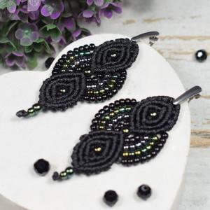 Eleganckie, czarne kolczyki z koralików