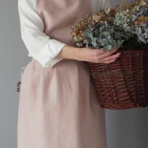 Fartuch lniany - pudrowy róż