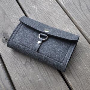 Filcowy portfel - grafitowy z zawieszką skórzaną