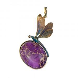 Fioletowa ważka - naszyjnik srebrny a691