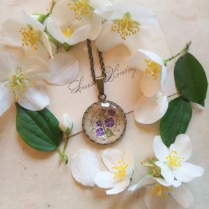 Fioletowe dzwonki, miniatura, akwarela