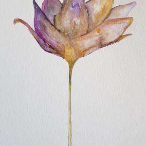 Fioletowy Kwiatek ze złotem