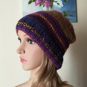 Fiolety z musztardą czapka