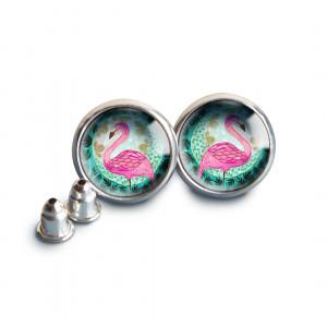 Flamingi kolczyki wkrętki