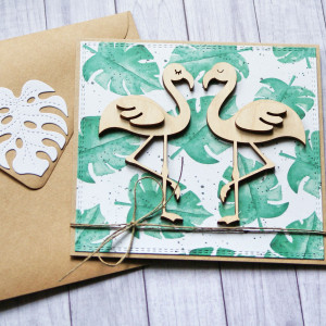 flamingi : monstera : kartka ślubna, miłosna